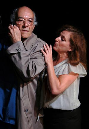 Bernie Getting Busted: Mark Margolis as Madoff with Robin Leslie Brown as his secretary.