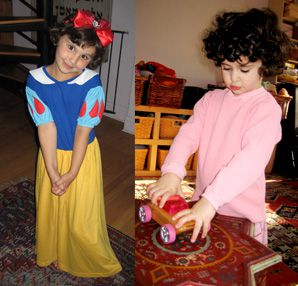 Girl Power: Maxine plays with (pink) toy trucks and Josie, left, strikes a pose as Snow White.