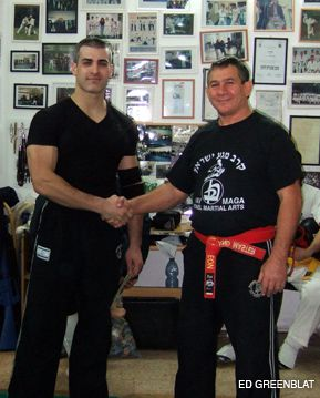 FIGHTING FRIENDS: Leading American Krav Maga exponent David Kahn, left, recently hosted Israeli grandmaster Haim Gidon at his New Jersey studio.