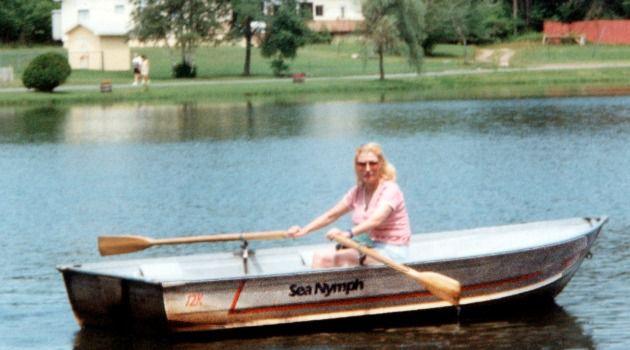 """Masha Leon rowing the """"Sea Nymph"""" at Kutcher's."""