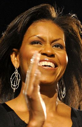 Chandelier Style: Michelle Obama, wearing Loree Rodkin earrings on election night.