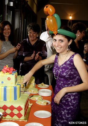 RECYCLED: Ruby Watts at her bat mitzvah, in a dress recycled for the occasion.