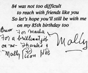 ?Thank You? note from Molly Picon to Masha Leon
