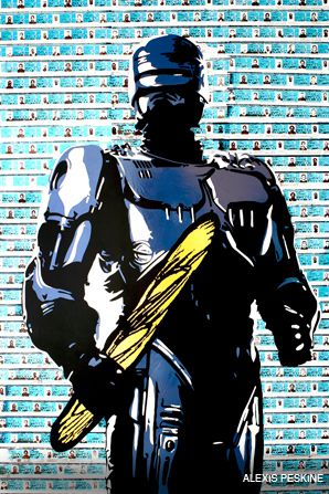 CRUSTY: 'Motif,' an image of the 1987 movie character Robocop holding a baguette goo?ly illuminates the tension between a feisty French police force and a bready symbol of French re? nement.