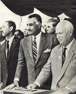 Players: Gamal Abdel Nasser with Nikita Khrushchev.
