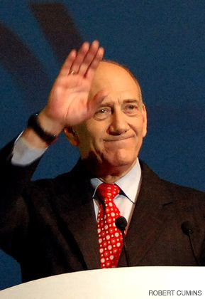 OLMERT: The prime minister made a last appearance.
