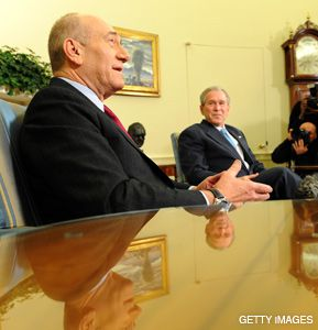 LAST TIME: Ehud Olmert spoke with President Bush during his last visit to the United States as Israel?s prime minister.