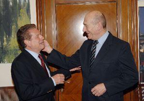 GOOD TERMS: Actor Mike Burstyn visited Israeli Prime Minister Edud Olmert. Burstyn was in Tel Aviv for the Forward's 110th anniversary.