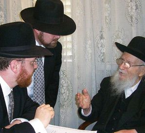 GET OUT THE VOTE: Ultra-Orthodox lobbyist, Rabbi Yehiel Kalish, left, spoke with other Israeli rabbis about pushing American citizens in Israel to vote in the upcoming presidential elections.