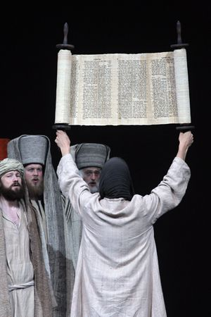 Sh?ma israel: Jewish elements, such as Jesus entering the Temple holding aloft a Torah scroll, have been introduced.