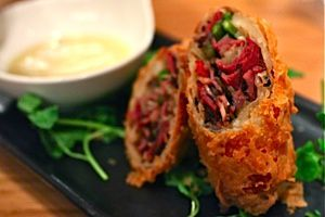 At Red Farm in New York, pastrami is stuffed into an eggroll for a twist on the Chinese classic.