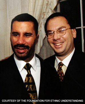 FRIENDS: New York Governor David Paterson, left, spoke at the synagogue of Rabbi Marc Schneier, where he defended a proposal to erect a Jewish ritual boundary in the Hamptons.
