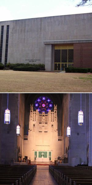 Twins?: Left, the Church of the Heavenly Rest, an Episcopal church in Manhattan, and, right, Ahavath Achim, a Conservative syn- agogue in Atlanta, are similar in size and budget. But while Ahavath Achim charges dues, all giving to Heavenly Rest is voluntary.