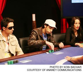 ANTE UP: From left, Dani Yochtman, Oded Paz and Eden Harel, three contestants on the Israeli version of ?Celebrity Poker.?