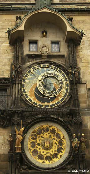 MEDIEVAL TIMEKEEPER: The Astronomical Clock, built in the 15th century, is a favorite attraction for travelers to the Old Town Square in Prague, the capital of the Czech Republic.