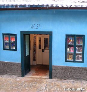 KAFKA WROTE HERE: Author Franz Kafka lived and wrote in this house, which belonged to his sister, at No. 22 Golden Lane in Prague.