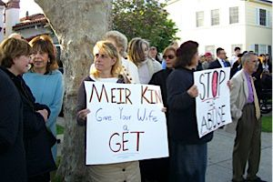 Protest: Members of L.A.?s Orthodox community at a rally in 2009 for a woman they claim was not granted a Jewish divorce.