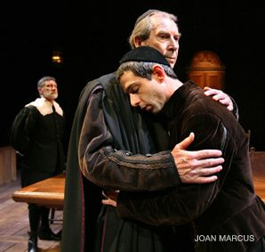 Philosophy Class: Richard Easton and Jeremy Strong in a scene from 'New Jerusalem: The Interrogation of Baruch Spinoza.
