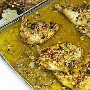 ?Ottolenghi?s? roast chicken with saffron, hazelnuts, and honey is perfect for a holiday dinner.