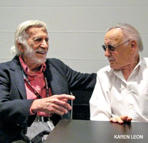 LEGENDS: Jerry Robinson (left) and Stan Lee spoke at the event.