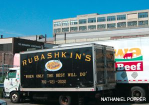 FAMILY AFFAIR: A delivery truck waits outside the Agriprocessors warehouse in the Sunset Park area of Brooklyn.