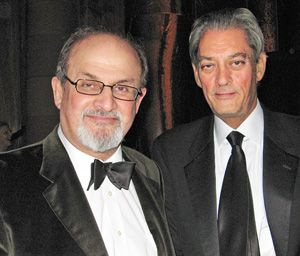 Old Friends: Salman Rushdie, left, and Paul Auster at the Americans for the Arts 2009 National Arts Awards dinner.