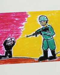 Graphic Art: Some of the children?s art is disturbing, like this depiction of a soldier confronting a child.
