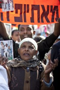 Bring Our People Here: Ethiopian immigrants in Israel demonstrate against the lengthy delays in allowing the remaining Falash Mura Jews to immigrate.