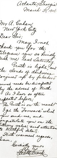 Leo Frank wrote to Forverts editor Ab Cahan about his murder conviction.