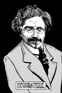 Animated Aleichem: The Yiddish writer?s meeting with Mark Twain is depicted in one work.