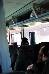 Separate Spaces: Men ride on one side and women on the other, divided by a curtain, on buses plying routes in ultra-Orthodox communities.
