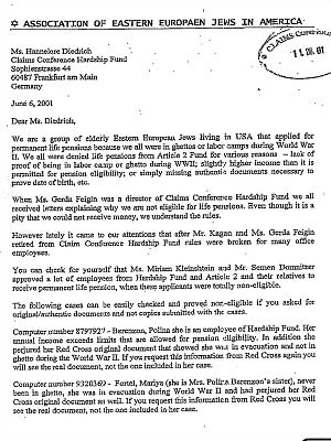2001 letter that pointed to massive fraud at Claims Conference.