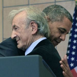 Book of Friends: Elie Wiesel hugs President Barack Obama before speech at Holocaust Museum in Washington.