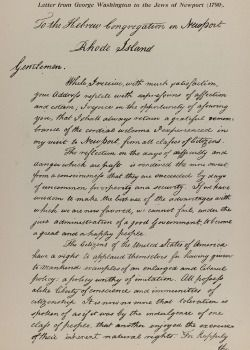 Famed Words: A copy of the original letter from George Washington to the Jews of Newport, R.I., was published in a Jewish fair in 1895.