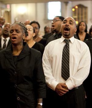 Greater Centennial Choir of A.M.E. Zion Church sings.