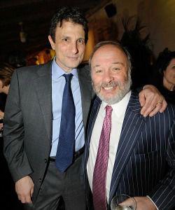 New Yorker editor David Remnick, left, with columnist Joe Klein.