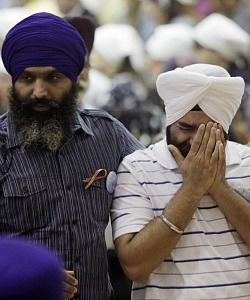 Mourning : Sikhs in Wisconsin mourn after the shooting rampage carried out by a suspected white supremacist.