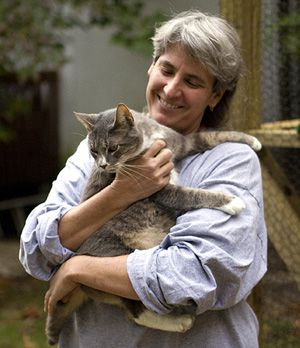A Little TLC: Laura Pople, founder and executive director of Seer Farms, holds Smokey, one of about 90 cats that are being given temporary care at the animal sanctuary. At left, Teddy goes for a walk on a leash.