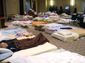 PAJAMA PARTY: Jewish seniors who evacuated their homes amid raging wildfires were welcomed at Congregation Beth Israel.