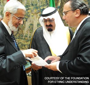 TALKING: Rabbi Marc Schneier talked with the Saudi king and the chairman of the Fiqh Council of North America at a meeting to promote interfaith dialogue in Spain.