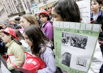 Children attended the 2006 commemoration of the 95th anniversary of the Triangle Shirtwaist Factory Fire in New York City.