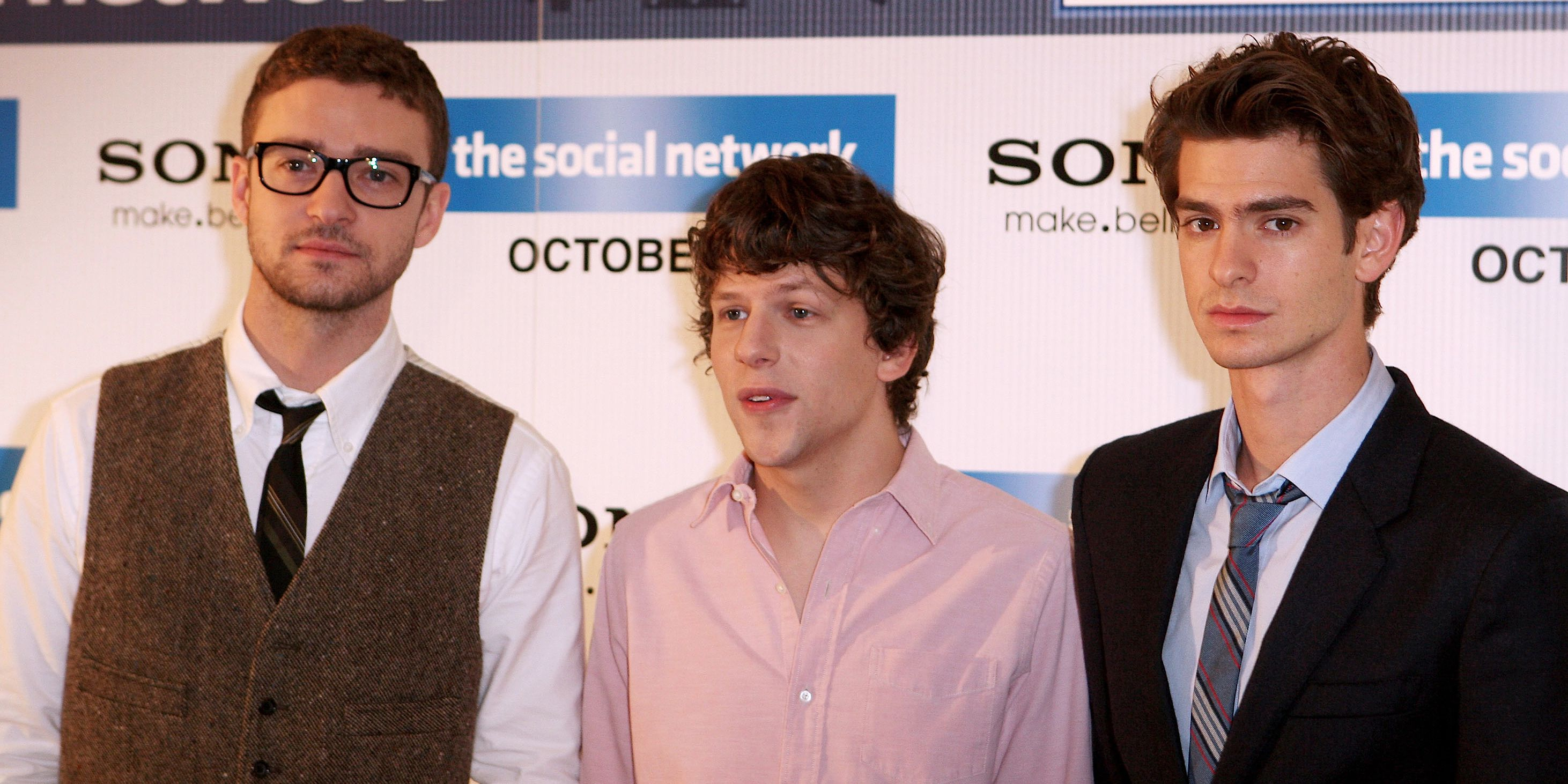 Justin Timberlake, Jesse Eisenberg and Andrew Garfield, stars of ?The Social Network?