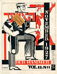 Machine Age: A cover of the Yiddish communist magazine Der Hammer, November, 1927.