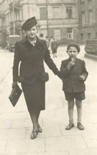 Before the Worst: Wacek Zalcberg (right) walks in Warsaw with his mother.