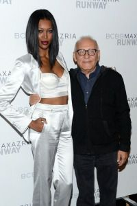 Max Azria with a model at his Thursday Fashion Week show.