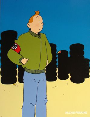 IN CHARACTER: In 'Tintin and Your Kids,' the famed character is recast as a swastika-clad skinhead. In the background, a Congolese flag is minimally visible on a pile of tires.
