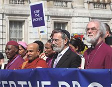 Dignity of Difference: British Chief Rabbi Jonathan Sacks (center) marches against poverty alongside other religious leaders in London in 2008.