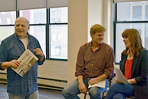 Georgians On His Mind: Alfred Uhry with Tony Carlin and Patricia Richardson rehearsing Alliance Theatre?s premiere of ?Apples & Oranges.?