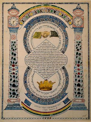 Intricate: A marriage contract created for a couple in New York in 1863 by artist and calligrapher Zemah Davidsohn uses ink and watercolor on paper.