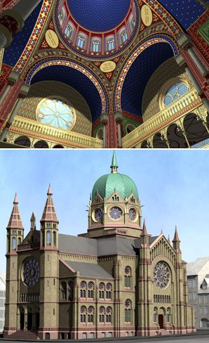 A group of researchers has virtually reconstructed 14 synagogues destroyed by the Nazis, including one in Cologne (top) and another in Hanover (bottom)